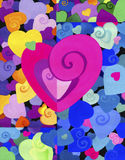 Gemaltes dekoratives Herz auf dem Hintergrund vieler Farben, schön kleine und große Herzen Hintergrund Die Beschaffenheit Stockbilder