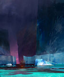 Gemaltes drakkar Boot unter Eisbergen stock abbildung