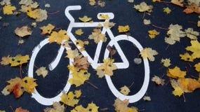 Gemaltes Fahrrad im Herbst Stockfoto