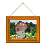 Gemaltes Haus im Feld Stockfotografie