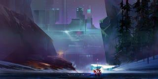 Gemaltes Landschaftsschiff in der Cyberpunkstadt der Zukunft Lizenzfreie Abbildung
