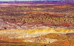 Gemaltes Wüsten-Gelb-Gras landet orange Sandstein-roten brennenden Pelz Stockfotografie