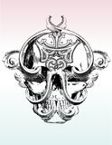 Gemangelde grunge schedel illustrat Royalty-vrije Stock Foto's