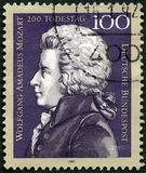GEMANY - 1991年:展示沃尔夫冈・阿马德乌・莫扎特1756-1791,作曲家,死亡二百周年 免版税库存照片