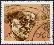 GEMANY - 1978年:展示赫尔曼卡尔黑森1877-1962,诗人、小说家和画家,系列德国优胜者诺贝尔文学奖 库存照片