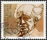 GEMANY - 1978: shower Gerhart Hauptmann 1862-1946, dramatikern och romanförfattaren, tyska vinnare för serie av Nobel litteratur  Arkivbild