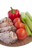 Gemarineerde kip met groenten Stock Fotografie
