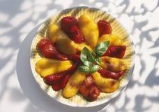 Gemarineerde rode en gele groene paprika's Royalty-vrije Stock Foto