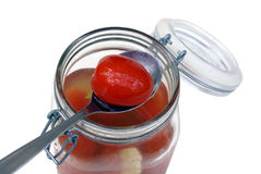 Gemarineerde tomaten stock afbeeldingen
