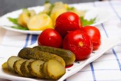 Gemarineerde tomaten en komkommers Stock Afbeeldingen