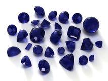 Gemas azuis da safira Imagem de Stock Royalty Free