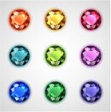 Gemas coloridas ajustadas Fotografia de Stock Royalty Free