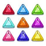 Gemas coloridas de la forma del triángulo de la historieta divertida Fotografía de archivo libre de regalías
