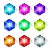 Gemas, Crystal And Diamonds Icons stock de ilustración