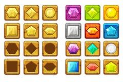 Gemas dadas forma diferentes dos desenhos animados, multi-coloridas e botão do ouro para o jogo de Ui ilustração stock