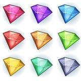 Gemas de la historieta e iconos de los diamantes fijados stock de ilustración