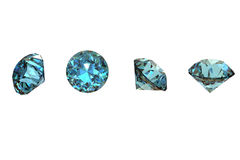 Gemas de la joyería de la dimensión de una variable redonda. Topaz azul suizo fotos de archivo libres de regalías