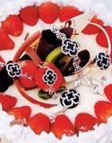Gemas de la joyería y oro blanco Imagen de archivo libre de regalías