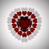 Gemas de la tarjeta del día de San Valentín Fotografía de archivo