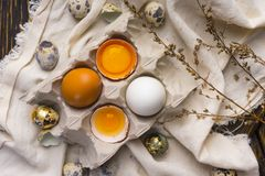 Gemas de ovo quebrado na casca de ovo na caixa de ovo da caixa e nos ovos de codorniz Fotografia de Stock Royalty Free