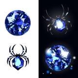 Gemas de Sapphire Spider y del zafiro en fondo negro con ojeadas Vector Illustartion Imagenes de archivo