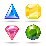 Gemas del vector de la historieta e iconos de los diamantes fijados Imagen de archivo