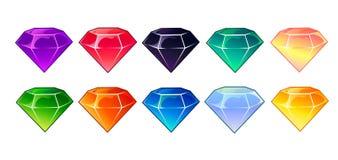 Gemas del vector de la historieta e iconos de los diamantes fijados en diversos colores stock de ilustración