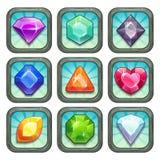 Gemas do vetor dos desenhos animados e ícones do app dos diamantes ajustados ilustração royalty free