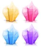Gemas dos desenhos animados e ícones dos diamantes ajustados Fotografia de Stock Royalty Free