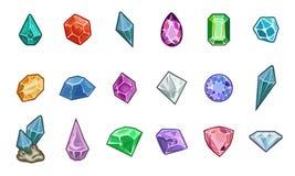Gemas e diamantes do vetor dos desenhos animados Imagens de Stock