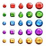 Gemas e iconos de los diamantes fijados Imágenes de archivo libres de regalías
