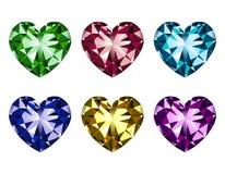 Gemas en forma de corazón fijadas Imagen de archivo