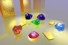 Gemas en luz de oro Imagen de archivo libre de regalías