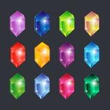 Gemas mágicas Vector aislado brillante de cristal claro del vistazo de rubíes esmeralda del zafiro de la piedra preciosa de los d ilustración del vector
