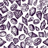 Gemas y fondo del vintage de los cristales stock de ilustración