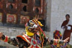Gemaskeerde Festivaldanser in Bhutan Stock Foto's