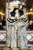 Gemaskeerde mensen voor de vensters van de beroemde Florian-koffie in Piazza San Marco tijdens Venetiaans Carnaval stock afbeelding