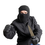 Gemaskeerde misdadiger die een mes houdt Stock Afbeeldingen