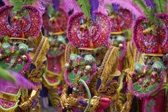 Gemaskeerde Morenada-dansers in Oruro Carnaval in Bolivië Stock Fotografie