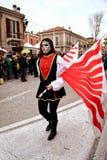 Gemaskeerde vrouw in Carnaval in Fano Stock Foto's
