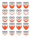 Gemberbaard en glazen, hipster geplaatste pictogrammen Royalty-vrije Stock Afbeeldingen