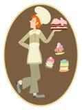 Gemberchef-kok met een grote romige cake Royalty-vrije Stock Foto