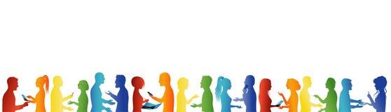 gemeenschap Menigte het spreken Vereniging of vergaderingsorganisatie Het grote groep mensen spreken Het concept van het vennoots stock illustratie