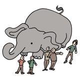 Gemeenschap van mensenolifant in de ruimte Stock Afbeelding