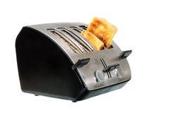 Gemeenschappelijke chroombroodrooster met brood Stock Fotografie
