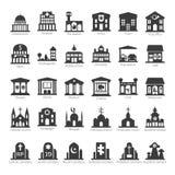 Gemeenschappelijke gebouwen en plaatsen vectorpictogramreeks vector illustratie