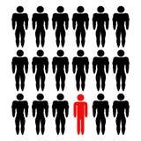 Gemeenschappelijke mens onder bodybuilders Royalty-vrije Stock Fotografie