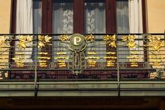 Gemeentelijk huis architectonisch detail, Art Nouveau, Praag, Tsjechische Republiek, zonnige de zomerdag stock foto