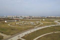 Gemeentelijk Park dichtbij Ploiesti, Roemenië, satellietbeeld stock foto's