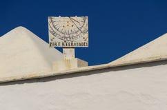 Gemeindekirche Parroquia San Roque, lanzerote, Sonnenuhr Stockfoto